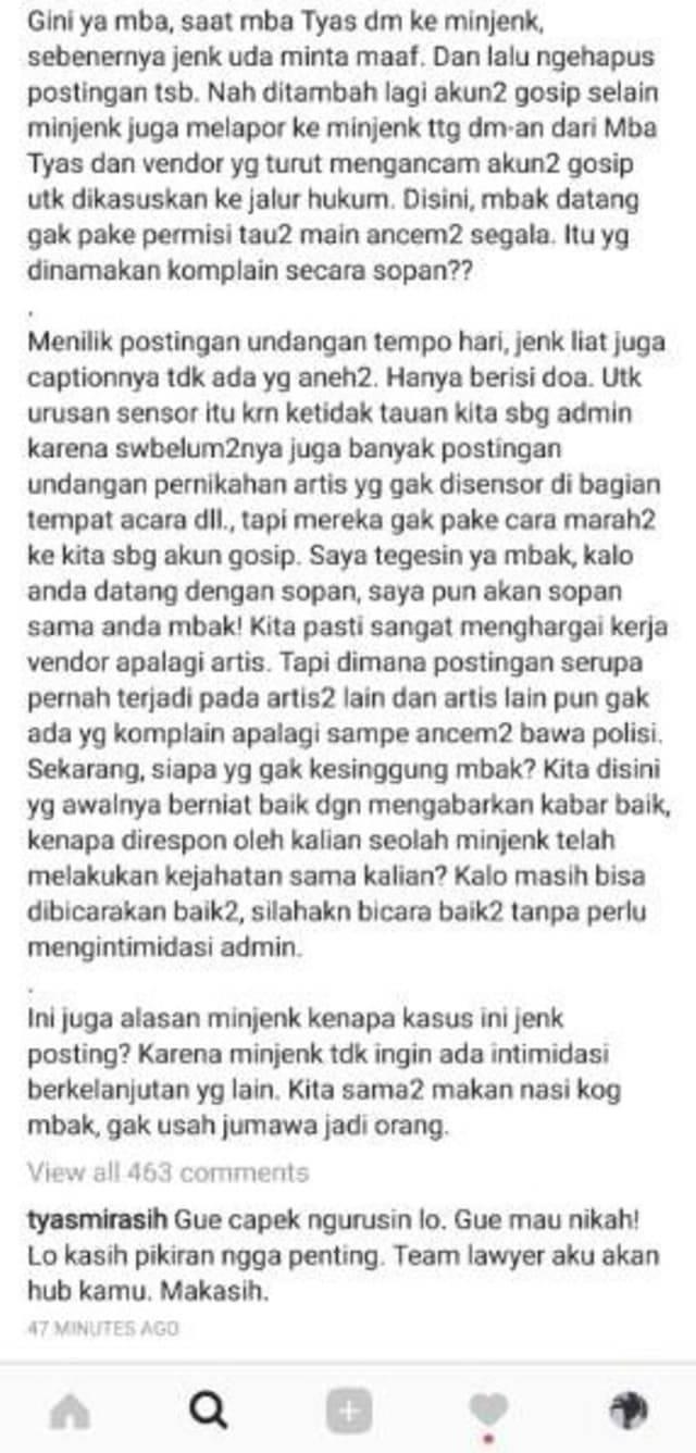 Perseteruan Tyas Mirasih dengan akun gosip (Foto: Instagram)