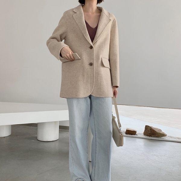 毛呢大衣 羊毛外套-短版寬鬆翻領單排扣女外套3色[巴黎精品]