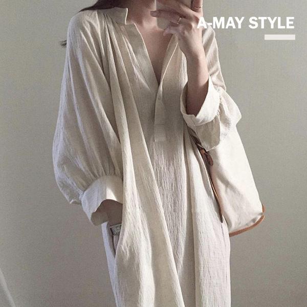 洋裝-無印色系棉麻襯衫連身裙【XTT0744】 無印簡約風 韓版設計款