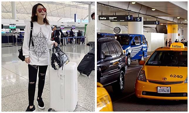 黃心穎在洛杉機時間25號晚上8時40分,即香港時間26號今早11時40分,步出美國洛杉磯 國際機場。