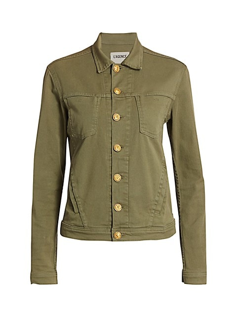 Utility-inspired jacket with bold goldtone hardware.; Spread collar; Long sleeves; Button front plac