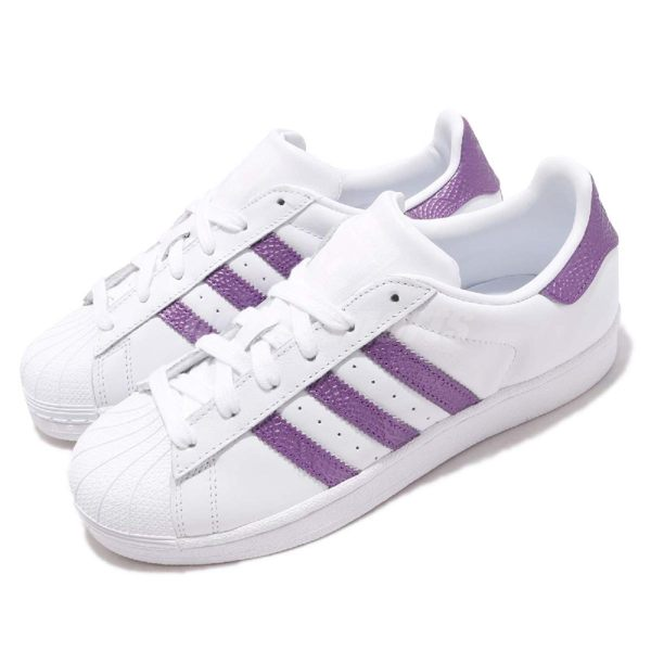 adidas 休閒鞋 Superstar W 白 紫 貝殼頭 女鞋 經典百搭款 運動鞋【PUMP306】 EE9152
