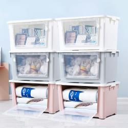 HOUSE-雙開大容量居家收納整理箱滑輪箱-6入(合色:白2入+粉2入+藍2入)