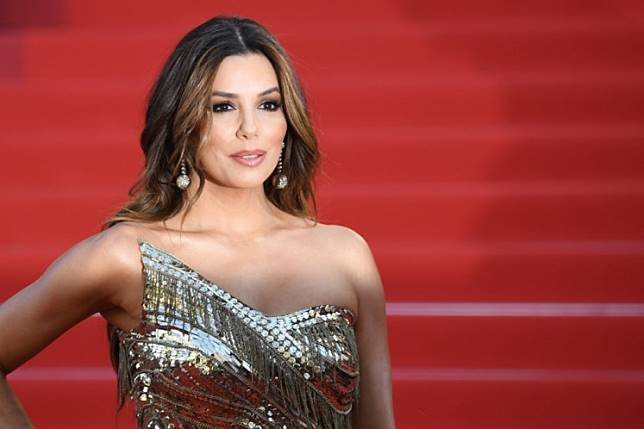 US actress Eva Longoria poses as she arrives for the screening of the film 'Rocketman' at the 72nd edition of the Cannes Film Festival in Cannes, southern France, on May 16, 2019.