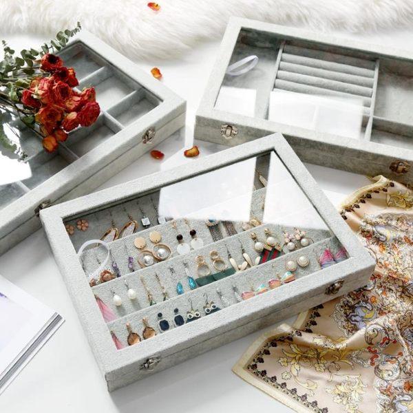 飾品收納盒 優彩絨布首飾收納盒大容量戒指手鐲耳釘耳環展示盒項鍊飾品珠寶箱 color shop