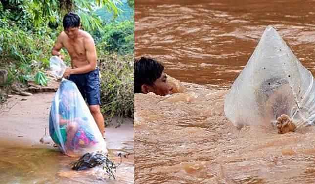 Viral Foto Pria Seberangi Derasnya Arus Sungai Sambil Bawa Anak Sekolah yang Dibungkus Plastik