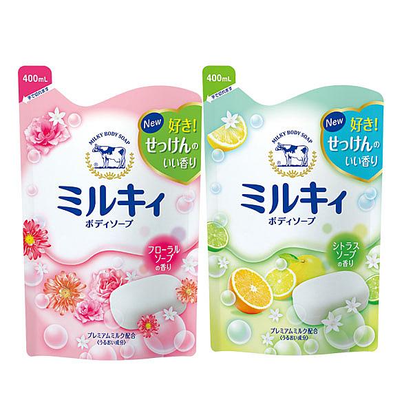 牛乳石鹼 COW 牛乳精華沐浴乳(400ml)補充包 柚子果香/玫瑰花香
