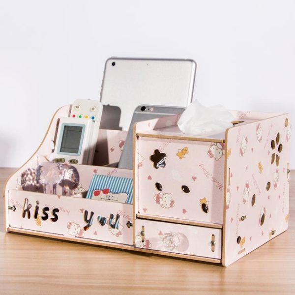 收納箱多功能紙巾盒抽紙盒桌面收納盒創意客廳餐桌茶几遙控器抽紙收納盒晶彩生活JD