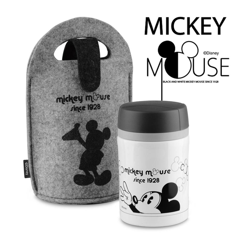 迪士尼Disney 米奇黑白經典304不鏽鋼真空燜燒罐提袋組450ml