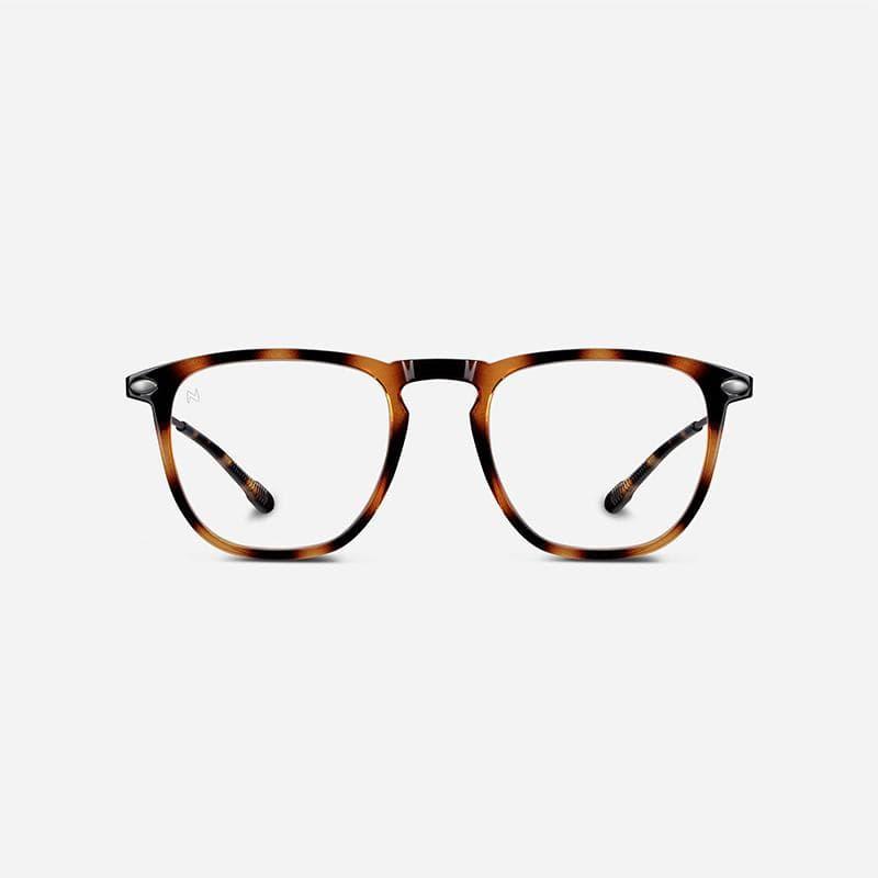 抗藍光時尚造型平光閱讀眼鏡-鏡腳便攜款(矩形-玳瑁色)