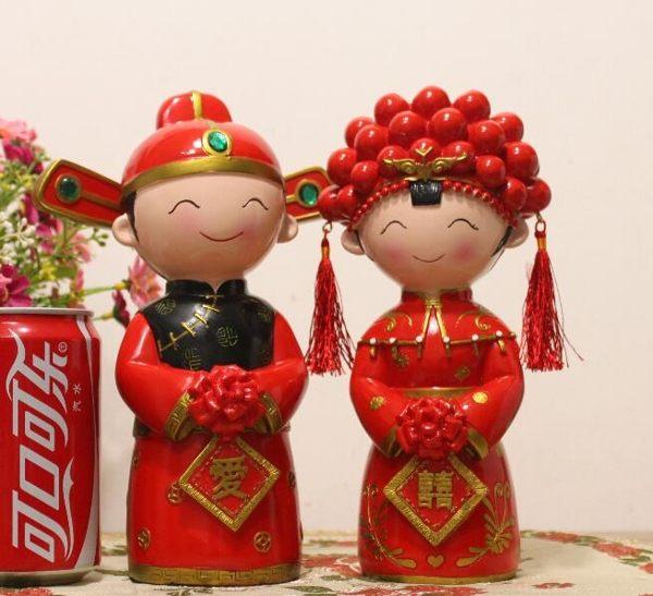 創意結婚禮品送禮婚慶樹脂娃娃新郎新娘公仔新婚禮物擺件大號