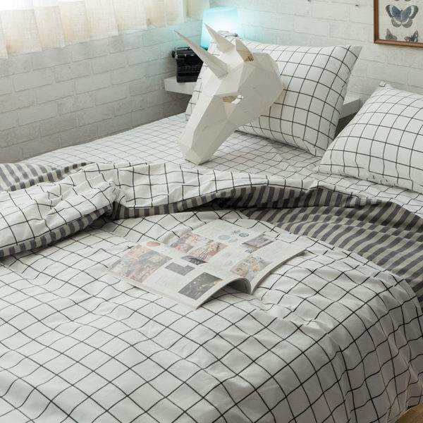 Cube&Line(床包黑白格子) 【單人、雙人組合】規格可選 四季磨毛布 台灣製造 棉床本舖