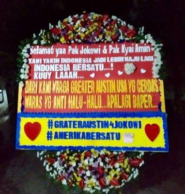 Karangan bunga dukungan untuk pasangan Jokowi-Amin