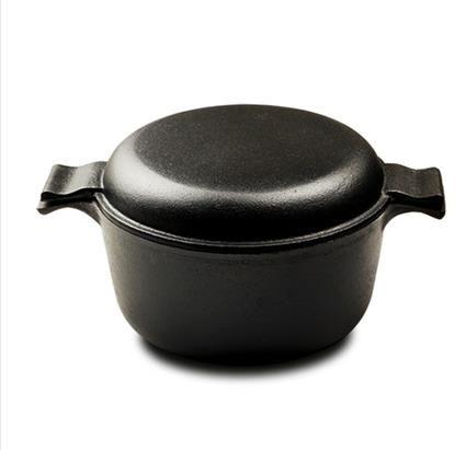 鑄鐵燉鍋加厚加深湯鍋家用老式生鐵鍋兩用煎燉鍋無涂層不粘鍋