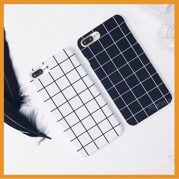 半包硬殼 黑白方塊格子 蘋果 iPhone7 iPhone8 plus 蘋果 i7+ i8+手機殼保護殼套 素色背板 防摔保護套