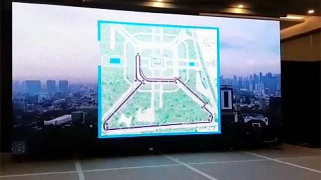 The image of the Formula E circuit at the National Monument or Monas area is shown during a media briefing by Jakarta Propertindo at Novotel Hotel, Jakarta, Friday, January 14, 2020. Tempo/M Yusuf Manurung