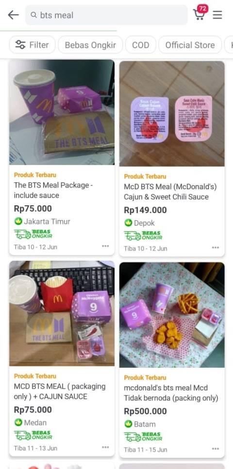 Viral! Bungkus The BTS Meal Dijual sampai Rp 500 Ribu di E-Commerce (2)