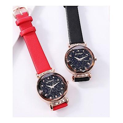 礦石強化玻璃鏡面皮革錶帶/防水30米皮革錶帶