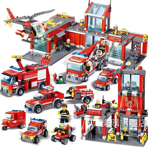 積木男孩子警察消防車城市組裝模型女孩小學生兒童玩具6-12歲精美包裝請下單宅配