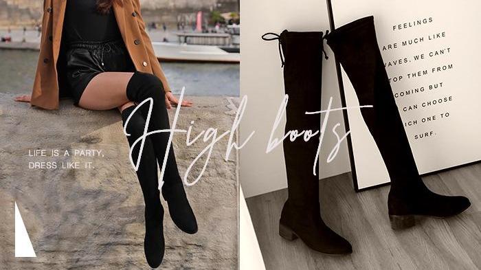 掌握三種膝上靴穿搭技巧,穿出纖細大長腿!