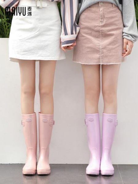 果凍雨鞋女時尚款外穿成人高筒韓國水靴女士水鞋可愛雨靴防滑膠鞋