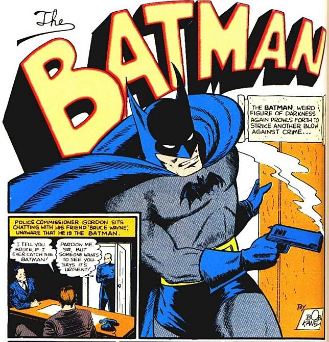 在早期的蝙蝠俠漫畫中,並沒有不用槍及不殺人的戒條,當時蝙蝠俠不時都會用槍把犯人殺死。(互聯網)