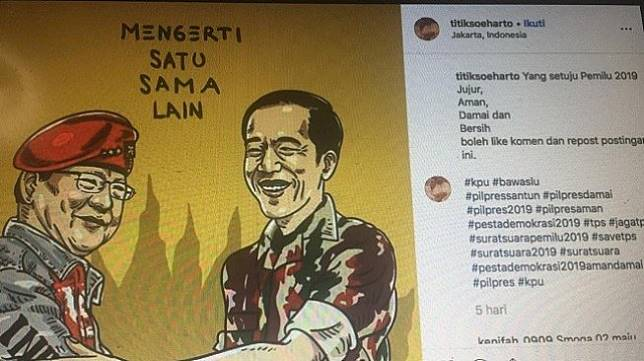 Unggahan di Instagram kebersamaan Jokowi dengan Prabowo. (Instagram / @titiksoeharto)
