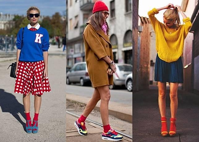 黑白灰以外,紅色短襪極之易襯,輕易為裝束加入特色亮點。(互聯網)