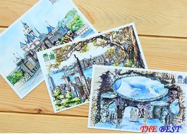 手繪 明信片 旅游 風景明信片 紀念 賀卡10張 百姓公館