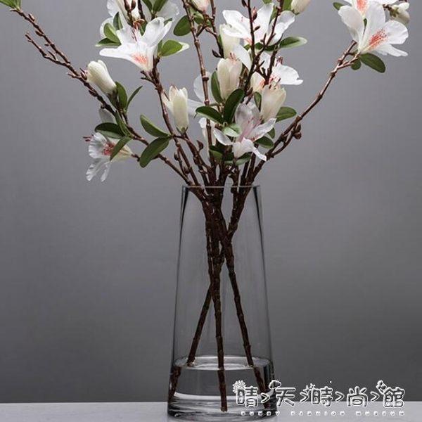 北歐T型簡約玻璃花瓶透明 圓柱花器客廳餐桌家居裝飾插花花瓶擺設