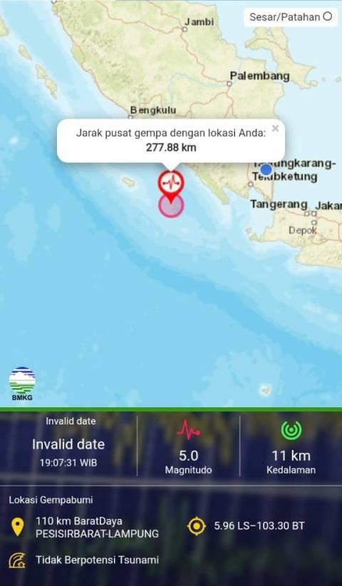 Gempa Bumi 5.0 M Getarkan Pesisir Barat Lampung, Tidak Berpotensi Tsunami (1)