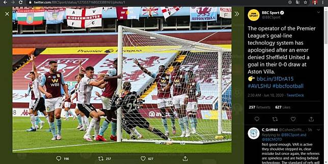 Teknologi Tak Bekerja Di Laga Aston Villa Vs Sheffield United Hawk Eye Minta Maaf Kompas Com Line Today