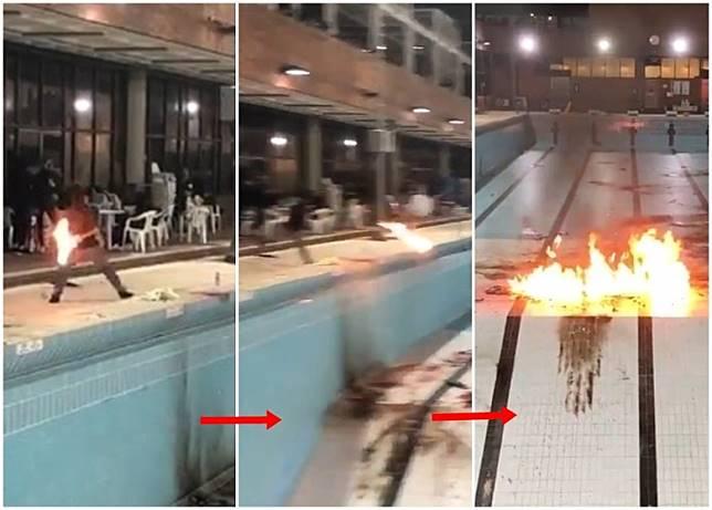 大批黑衣人在理工大學的泳池旁練習掟汽油彈。(互聯網)