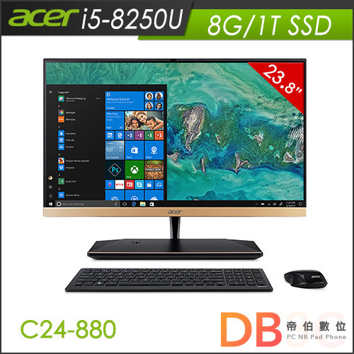 acer S24-880 All-In-One 桌上型電腦( i5-8250 四核心/23.8吋/8G/1TSSD/Win10 )-送快暖型迷你電暖器