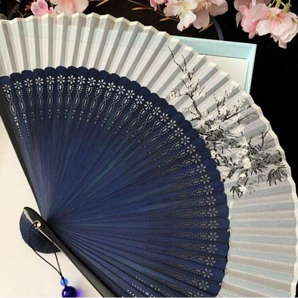 中國風禮品綾絹便攜隨身扇舞蹈扇表演扇夏水墨折扇子古風鏤空男女 科炫數位
