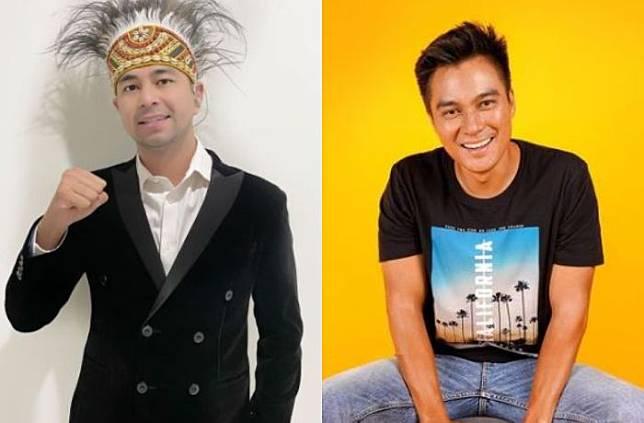 Kolase foto Raffi Ahmad dan Baim Wong