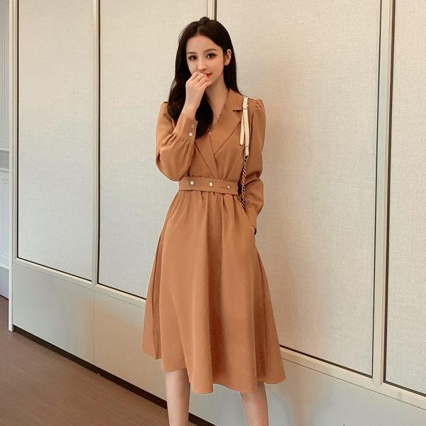 VK旗艦店 韓系V領收腰紐扣修身顯瘦氣質優雅長袖洋裝