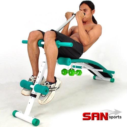 SAN SPORTS 全能超長 弧形仰臥起坐板+啞鈴組 C121-105 仰板仰臥板俯身挺背仰臥起坐健身器材便宜