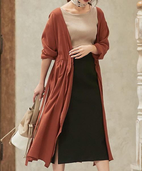開襟式連身裙+長裙穿搭