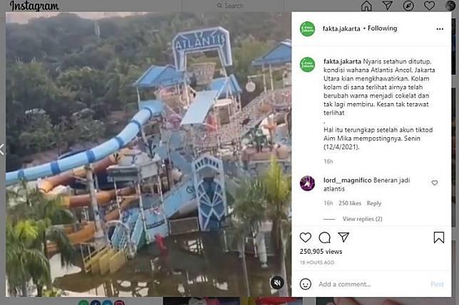 Kondisi wahana air Atlantis di dalam area Ancol yang terlihat keruh tak terawat karena sudah satu tahun lebih ditutup sejak pandemi Covid-19. Video ini viral di media sosial(Tangkapan Layar Instagram Fakta Jakarta)  Artikel ini telah tayang di Kompas.com dengan judul