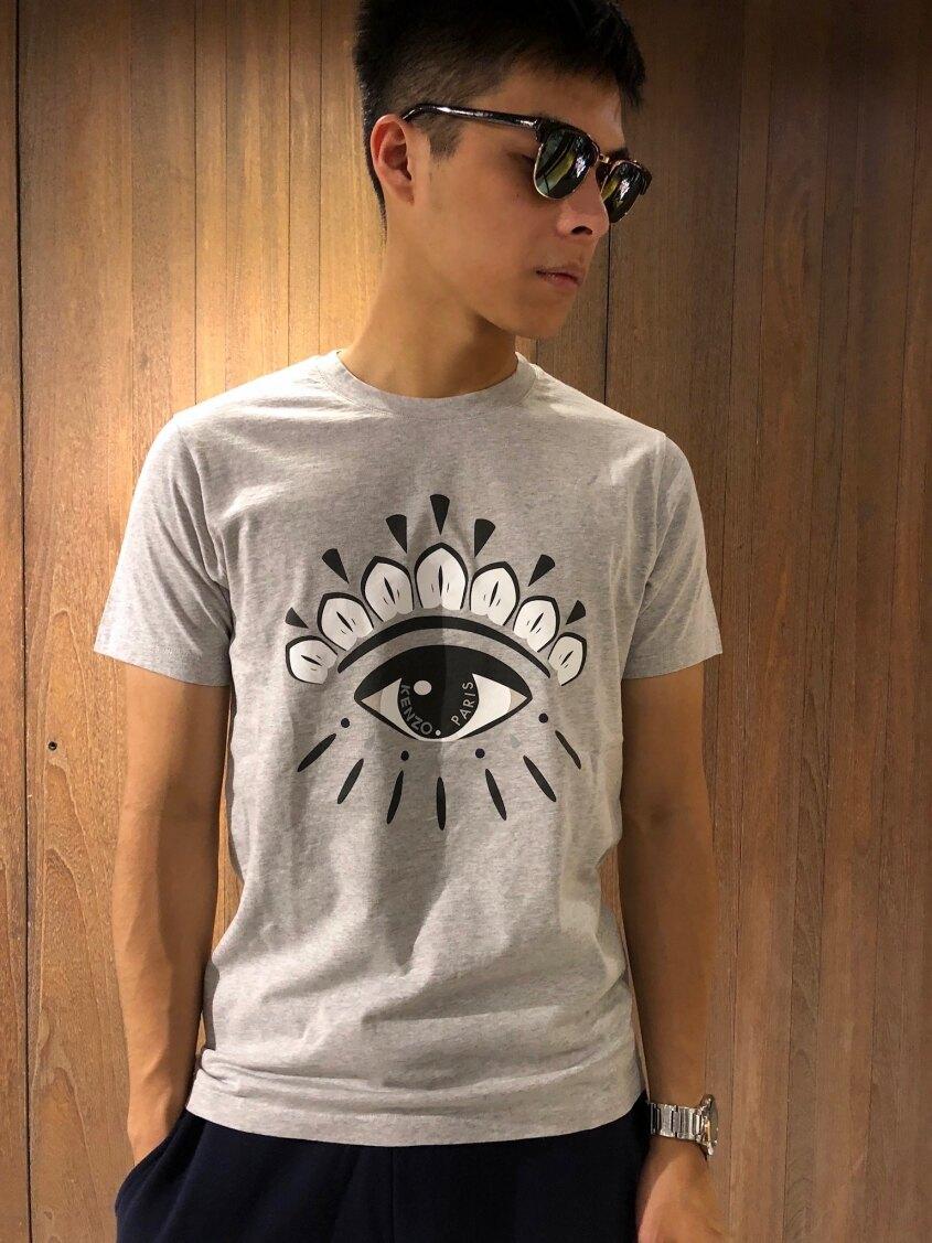 美國百分百【全新真品】KENZO 高田賢三 T恤 圓領 T-shirt 短袖 logo 眼睛 印圖 灰色 J072