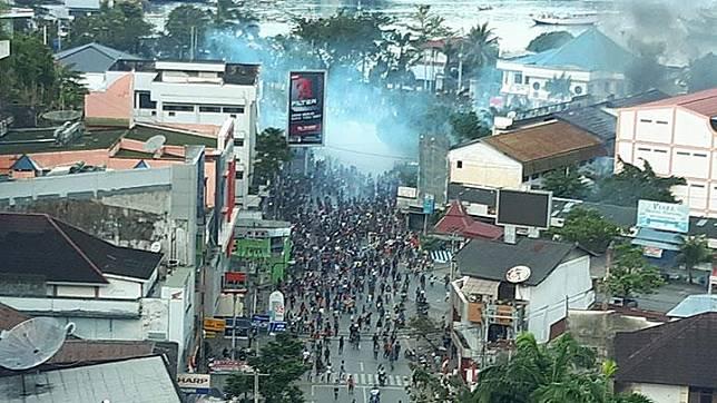Rally turns to riot in Jayapura, Papua, on Thursday, August 29, 2019. ANTARA/Dian Kandipi