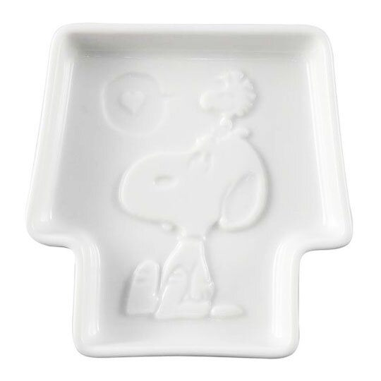 〔小禮堂〕史努比 日製迷你房屋造型陶瓷醬料碟《白.坐姿》小菜碟.YAMAKA陶瓷 4979855-21083