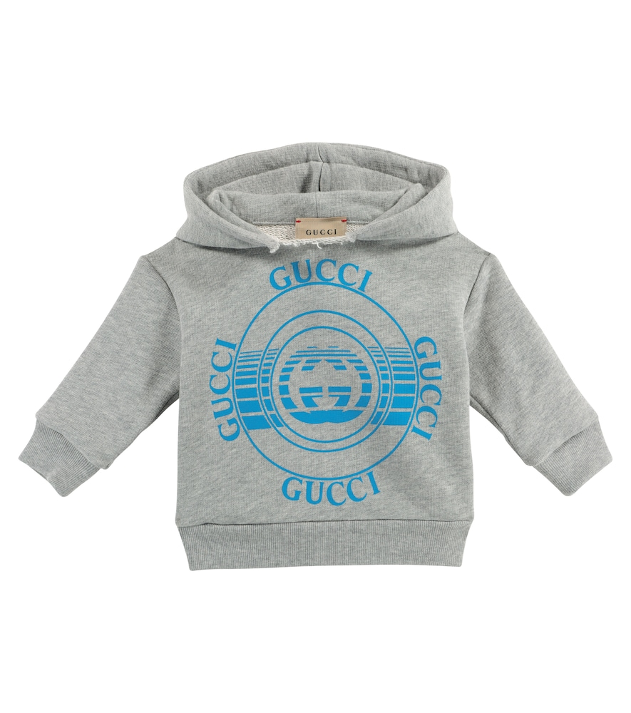 Tiny tots will love this grey hoodie from Gucci Kids, which is printed with not one, but four logos
