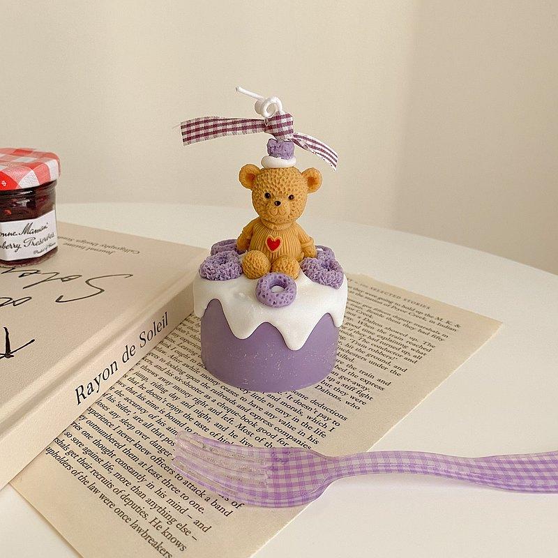 愛心熊麥片芋泥奶油蛋糕 韓系香氛蠟燭