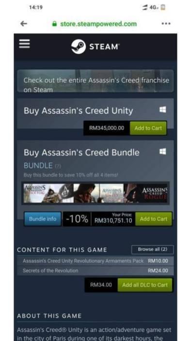 Ini Penyebab Harga Assassin S Creed Unity Di Steam Indonesia Cuma Rp28