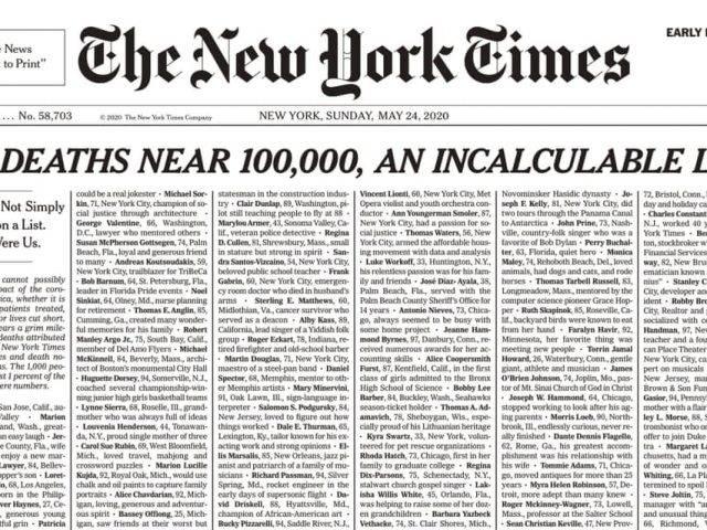 New York Times Pasang Semua Nama Korban Korona di Halaman Depan