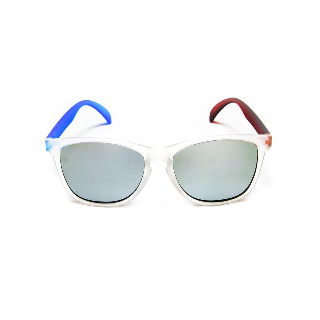 2is Nylon 太陽眼鏡│透白鏡框藍紅色鏡腳│銀色反光鏡片│夏日墨鏡│抗UV400