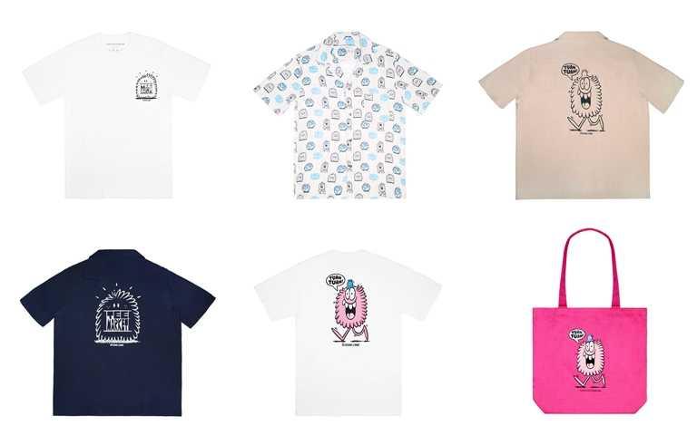 團長/副團長小怪獸國際聯名系列商品,包含棉質T恤、wbr夏威夷衫與托特包,及部分文具&配件。(圖/團團TUAN TUAN)