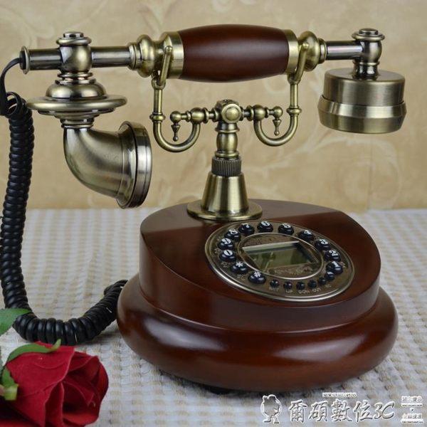 復古電話 歐式復古電話機仿古電話機美式實木電話家用座機辦公電話插卡 爾碩LX
